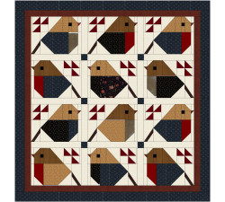 """Kit quilt Uccelllini 55"""" x 58"""" top"""
